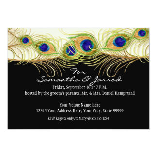 Modern Swirl Peacock Feathers Engagement Save Date Card