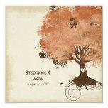 Modern Swirl Scroll Tree of Life Fall Autumn Leaf 13 Cm X 13 Cm Square Invitation Card