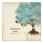 Modern Swirl Scroll Tree of Life Spring Summer 13 Cm X 13 Cm Square Invitation Card