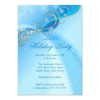 Modern Swirl Snowflakes Christmas Holiday Party Personalized Invites