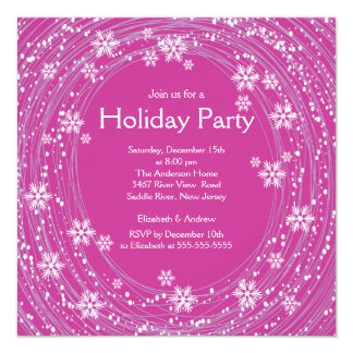 Modern Swirl Snowflakes Holiday Party Pink Card