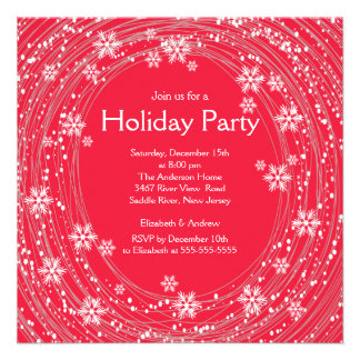 Modern Swirl Snowflakes Holiday Party Red Custom Invitations