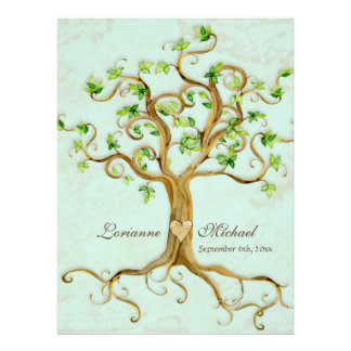 Modern Swirl Tree Roots Leaf Antique Parchment Invites