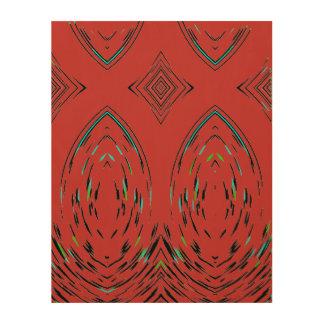 Modern Symbolic Theme Folk Ornament In Red Wood Wall Decor