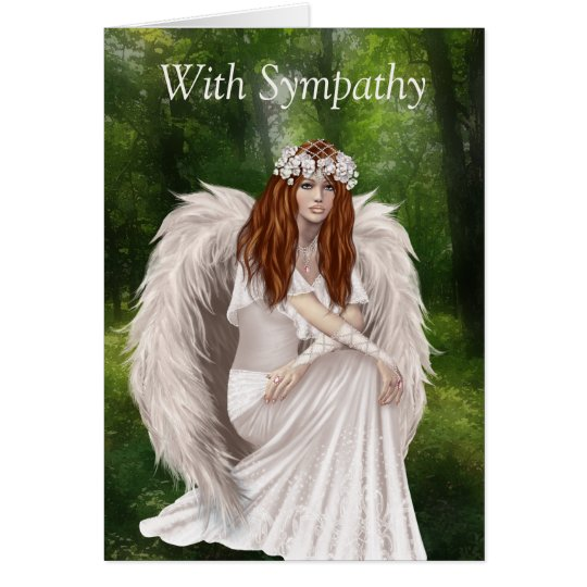 Modern Sympathy card with beautiful angel