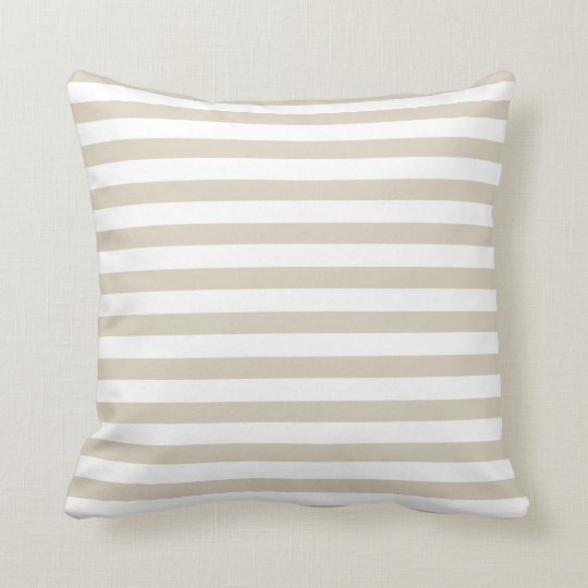 Modern Tan Beige White Stripes Throw Pillow