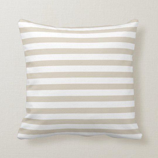 Modern Tan Beige White Stripes Throw Pillow