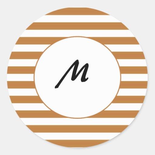 Modern tan stripe Sticker.