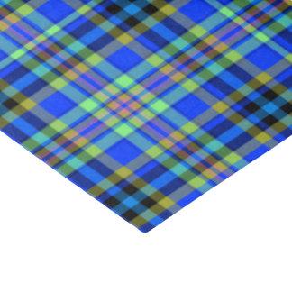 Modern Tartan Pattern Energetic Blue Tissue Paper