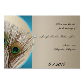 Modern Taupe Aqua Peacock Feather Save the Date Card