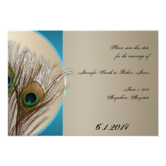 Modern Taupe Aqua Peacock Feather Save the Date Personalized Invitation