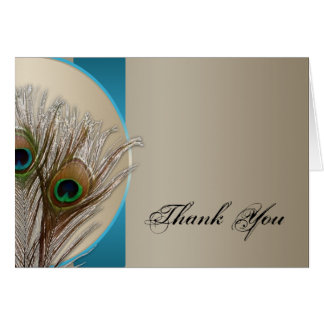 Modern Taupe Aqua Peacock Feather Thank You Card