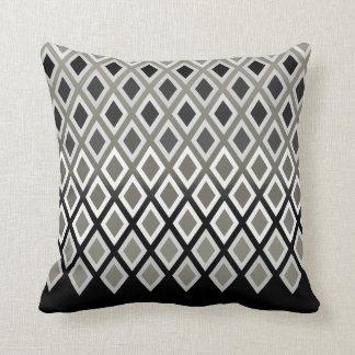 Modern Taupe & Black Diamond Pattern Accent Cushion