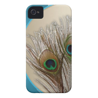 Modern Taupe Peacock Feather iPhone 4 Case