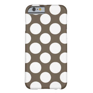Modern Taupe White Polka Dots Pattern Barely There iPhone 6 Case
