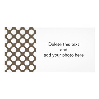 Modern Taupe White Polka Dots Pattern Picture Card