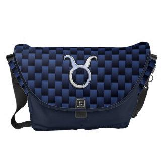 Modern Taurus Zodiac Sign Blue Carbon Fiber Print Courier Bag