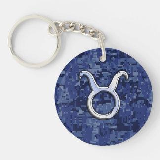 Modern Taurus Zodiac Sign Blue Digital Camouflage Key Ring
