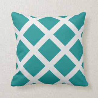 Modern Teal and White Criss Cross Stripes Pillow