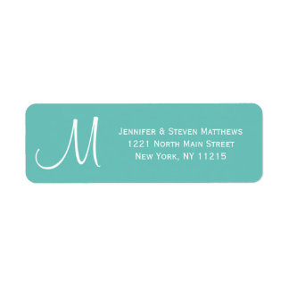 Modern Teal and White Monogram Names Return Address Label