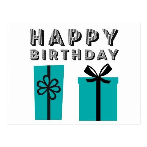 Modern Teal & Black Happy Birthday Postcard