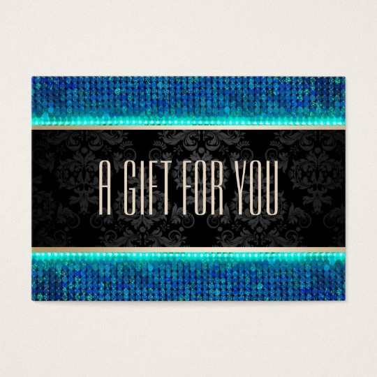 Modern Teal & Blue Sequin Gift Certificate
