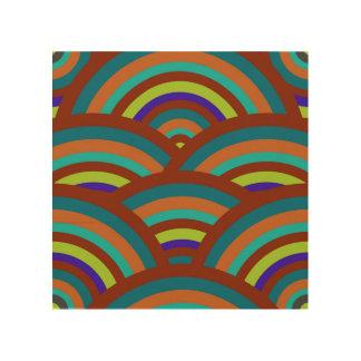 Modern Teal Brown Blue Rainbow Stripes Pattern Wood Wall Art