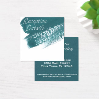 Modern Teal Brush Reception Card