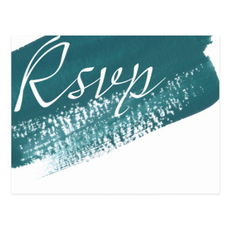 Modern Teal Brush RSVP Postcard