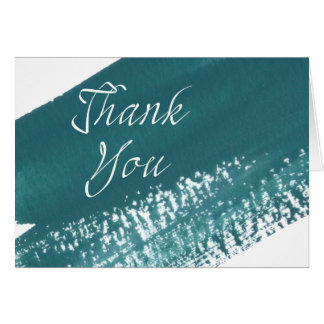 Modern Teal Brush Thank You Card