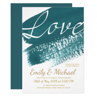 Modern Teal Brush Wedding Invitation