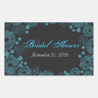 Modern Teal Flowers Border Bridal Shower Rectangular Sticker