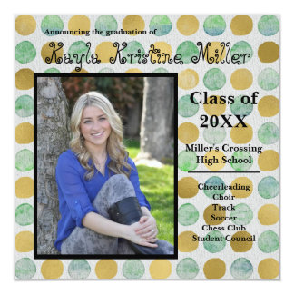 Modern Teal & Gold Dots - Graduation Announcement