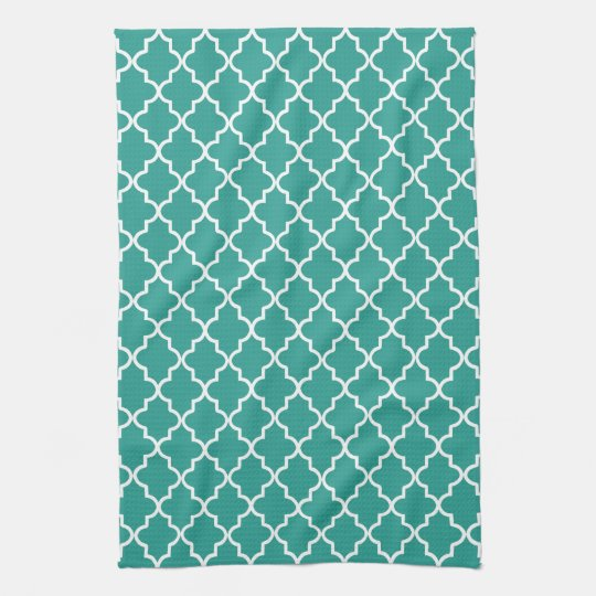 Modern Teal Green and White Moroccan Quatrefoil Hand