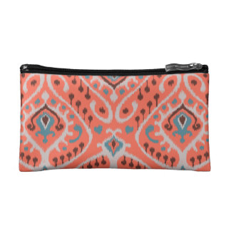 Modern teal orange girly ikat tribal pattern makeup bag