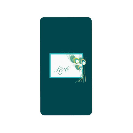 Modern Teal Peacock Wedding Hershey's Miniature Label