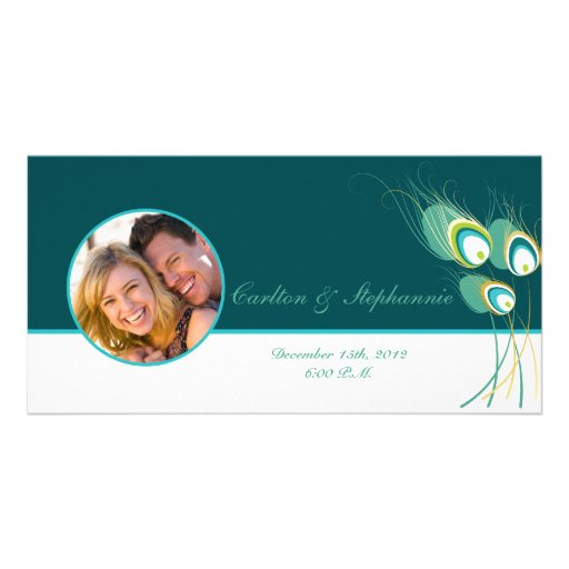 Modern Teal Peacock Wedding Photo Announcement Picture Card