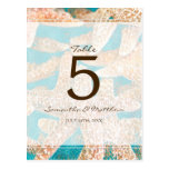 Modern Teal Starfish Wedding Table Number Post Cards