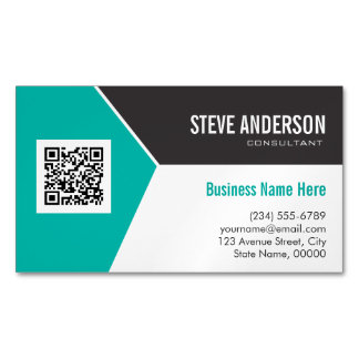 Modern Teal Turquoise Corporate QR Code Logo Magnetic Business Card