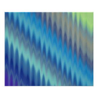 Modern Teal Turquoise Ikat Chevron Zigzag Photo Print
