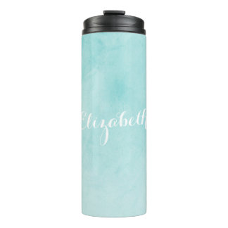 Modern Teal Watercolor Wash with Name Thermal Tumbler