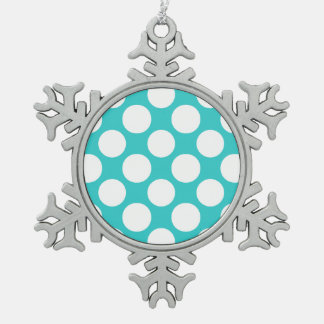 Modern Teal White Polka Dots Pattern Snowflake Pewter Christmas Ornament