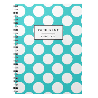 Modern Teal White Polka Dots Pattern Spiral Note Book