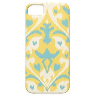 Modern teal yellow girly ikat tribal pattern iPhone 5 covers