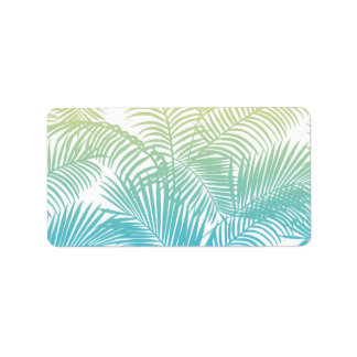 Modern teal yellow tropical palm trees pattern address label