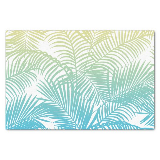 Modern teal yellow tropical palm trees pattern tissue