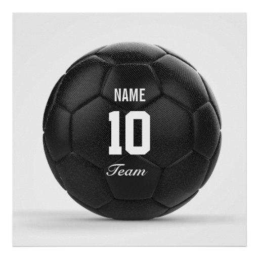 Modern Team Soccer Ball Personalised Text Poster