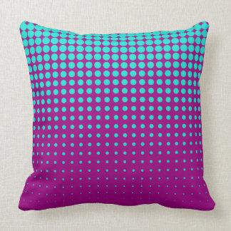 Modern techno shrinking polka dots opal  fuchsia cushion