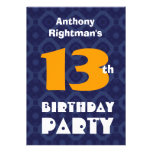 Modern Teen 13th Birthday For Him Blue Gold D452 Personalised Invitations