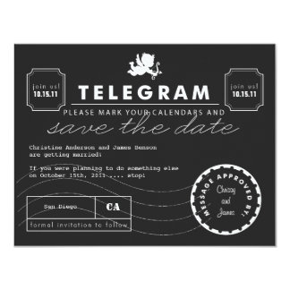 Modern Telegram Card Save the Date 11 Cm X 14 Cm Invitation Card